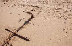 Rope for mooring boat on beach Royalty Free Stock Photography