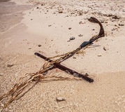 Rope for mooring boat on beach Royalty Free Stock Photo