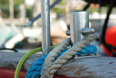 Rope and mooring bollard Royalty Free Stock Photo