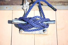 Rope Mooring Bollard Stock Image
