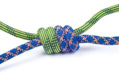 Rope for mountaineering. Grapevine knot. Royalty Free Stock Image