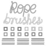 Rope nautical vector pattern brushes set vector illustration