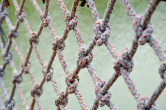 Rope net. Football net Be woven with rope Stock Images