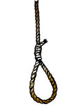 Rope noose hanging in. Drawing rope noose hanging in  on white background Royalty Free Stock Photos