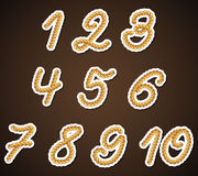 Rope Numbers, detailed design elements. Brown Rope Numbers, detailed shiny design elements Royalty Free Illustration