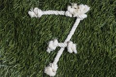 Rope numbers on grass. Number 7 stock images