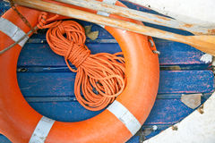 Rope, oars and lifesaver Stock Photo