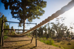 Rope obstacle course in the boot camp Royalty Free Stock Photography