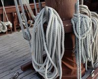 Rope of old galleon Royalty Free Stock Images