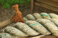 Rope and old hammer Royalty Free Stock Photo