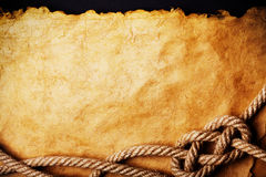 Rope on old paper Royalty Free Stock Photos