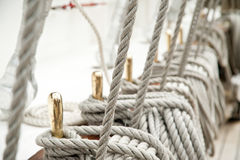 Rope on an old sailboat. Close up deatails Stock Photo
