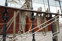 Rope on an old sailboat. Close up deatails Royalty Free Stock Photo