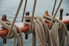 Rope on an old sailboat. Close up deatails Royalty Free Stock Photography
