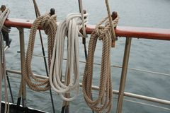 Rope on an old sailboat Stock Photos