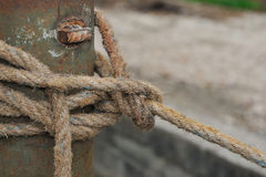 Rope on an old sailboat. Royalty Free Stock Photo