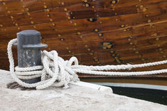 Rope on an old sailboat. Close up deatails. Royalty Free Stock Photos