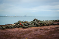 Rope on the old ship Royalty Free Stock Images