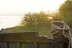 Rope from old ship. That stop for along time Royalty Free Stock Photos