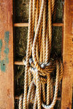 Rope on old the wooden ladder. Country background Stock Images
