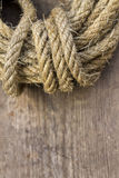Rope on old wooden Stock Photography