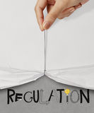 Rope open wrinkled paper show REGULATION Royalty Free Stock Images