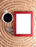 Rope and picture frame. Picture frame, coffee and old pocket watch on rope for background Stock Photos