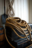 Rope pile on crate Stock Photo
