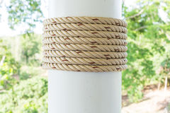 Rope on pillar Royalty Free Stock Photo