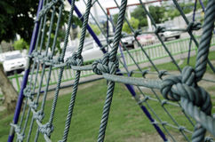 Rope in the playground. Nets with rope on the playground Royalty Free Stock Photos