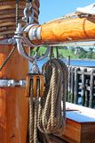 Rope and Pulley. On the main mast of a sailing ship, rope and pulley stock images