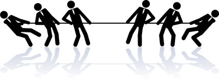 Rope pulling business people. Two teams of business people (stick figures) are competing in a rope pulling contest Stock Photo