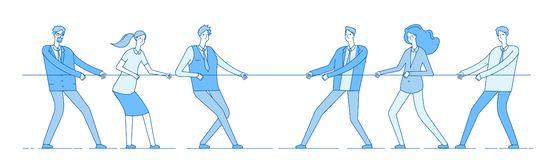 Rope pulling. Team business competition, people rival pulling rope. Competition, conflict rivalry in office. Tug of war. Vector concept. Competition tug rope vector illustration