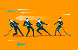 Rope pulling. Teamwork. Woman wins men group. Vector illustration Royalty Free Stock Image