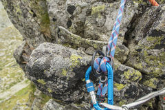 Rope in rappel device Stock Image