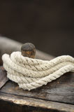 Rope and rigging of a sail ship Stock Photos