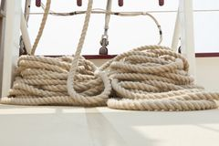 Rope rigging on a sailboat deck. Stock Image