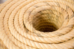 Rope rolled  closup. In store Royalty Free Stock Images