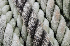 Rope. Rough rope for towing large boats full of green lichen stains stock images