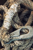 Rope with rusty hook Stock Images