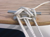 Rope of sailing-boat. Detail of new yacht Royalty Free Stock Images