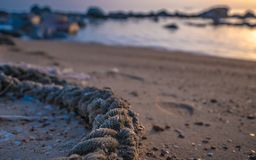 Rope On Sand Beach Photo royalty free stock photo