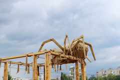 Rope sculpture Spider at open air festival White Nights Stock Images