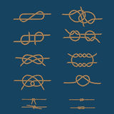 Rope sea knots set. On the blue background Royalty Free Stock Image