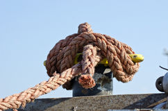 Rope on sea ship fence Stock Images