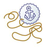 Rope and seal with naval anchor. On white background - vector illustration Stock Photo