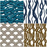 Rope Seamless Patterns Set, Trendy Vector Wallpaper Backgrounds Royalty Free Stock Images