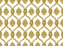 Rope seamless tied fishnet damask pattern. Vector Wallpaper Royalty Free Stock Images