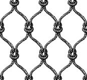 Rope seamless tied fishnet pattern. Vector illustration Royalty Free Stock Photo