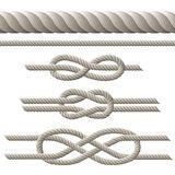 Rope set. Seamless rope and rope with different knots. Vector illustration Royalty Free Stock Photography